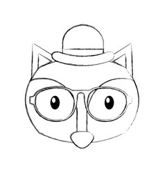 forest fox hipster with hat glasses vector image
