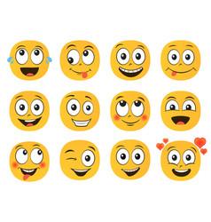 Fun smile emoticons faces set emoji vector