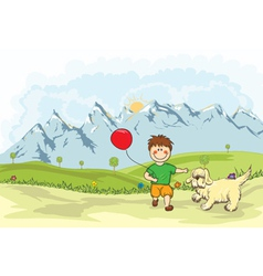 Funny kid playing with a dog on the mountain side vector