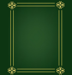 Green background with ornament golden frame vector