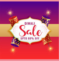 Happy diwali sale background with burning crackers vector