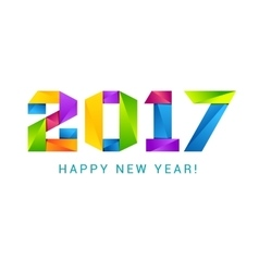 Happy new year 2017 text design colorful vector image