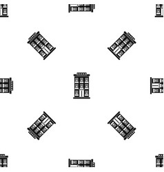 hotel building pattern seamless black vector image