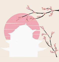 Japanese castle and pink floral branch at sunset vector