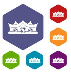 King crown icons set hexagon vector