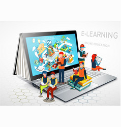 Laptop as a book the concept of learning online vector