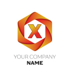Letter x logo symbol on colorful hexagonal vector