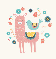 Llama and bird cartoon design vector