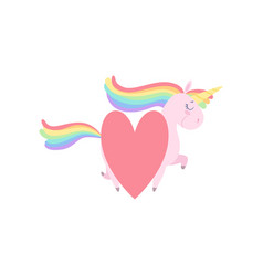 lovely unicorn with red heart cute fantasy animal vector image