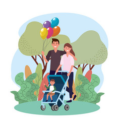 man and woman couple with their son in the vector image