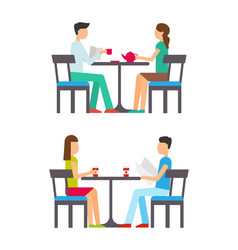 man and woman sitting on chairs at table vector image