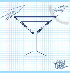 martini glass line sketch icon isolated on white vector image