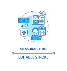 Measurable roi blue concept icon vector