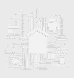 Microchip white house icon home automation vector