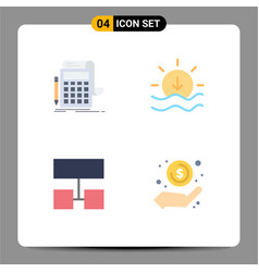 Modern set 4 flat icons pictograph of vector
