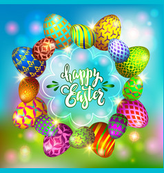 multi colored easter eggs on a blurred blue vector image