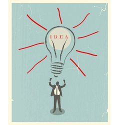 Of idea bulb retro poster vector