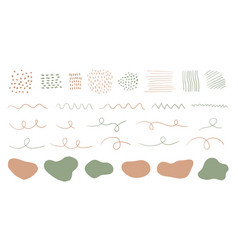 Organic shapes spots lines dots set vector