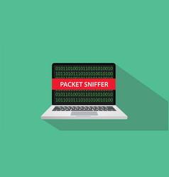 Packet sniffer concept with laptop comuputer and vector