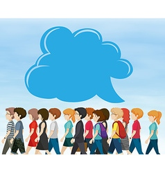 People walking and bubble speech vector