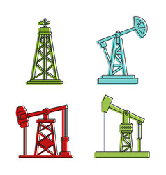 petrol extraction icon set color outline style vector image