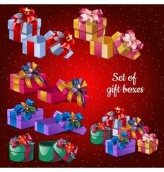 Postcard holiday Christmas set festive boxes vector image