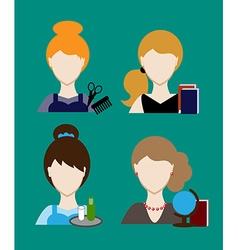 Profession people hairdresser teacher secretary vector image