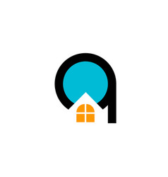 real estate letter q and window house logo vector image