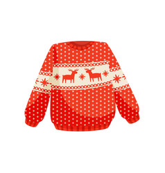 Red christmas sweater with norwegian ornament vector