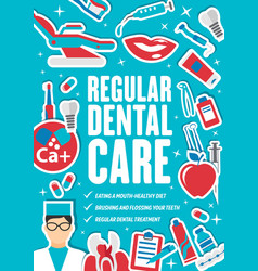 Regular dental care and dentistry medicine vector