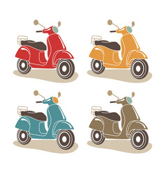 Retro scooters isolated italian style vector
