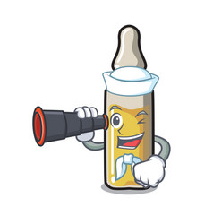 Sailor with binocular ampoule mascot cartoon style vector