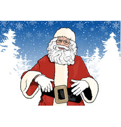 santa claus and winter background vector image