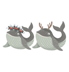 Set isolated bawhale with wreath winter vector