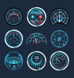 set isolated speedometers for dashboard analog vector image