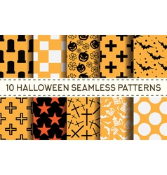 set of 10 halloween pattern vector image