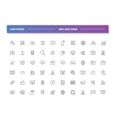 Set of 60 line icons seo and smm vector