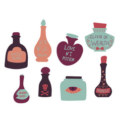 set of colorful magic cartoon bottles and love vector image