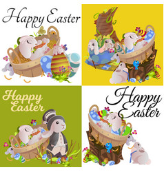 Set of easter egg hunt funny bunny with basket vector