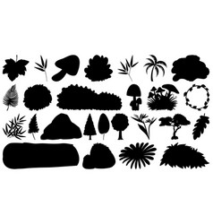 set sihouette isolated objects theme - plants vector image