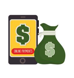 Smartphone bag money payment design vector
