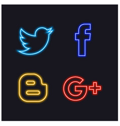 Social glowing button vector