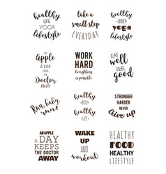 Sport and healthy lifestyle motivation quotes vector