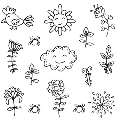 Spring doodles with hand draw vector image