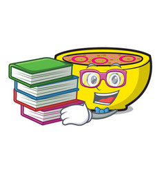 Student with book soup union mascot cartoon vector