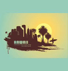 Surfer with palm trees and city vector