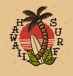 Surfing surf themed hawaii hand drawn traditional vector