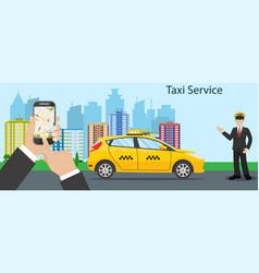 Taxi driver yellow taxi vector