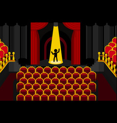 Theater performer alone cartoon vector