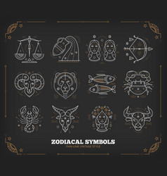 thin line zodiacal symbols astrology vector image